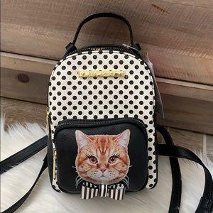 Betsey Johnson polka dot kitsch cat mini backpack